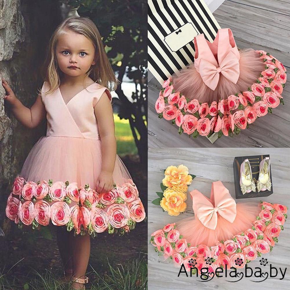 Đầm công chúa phối họa tiết hoa hồng 3D đáng yêu cho bé gái