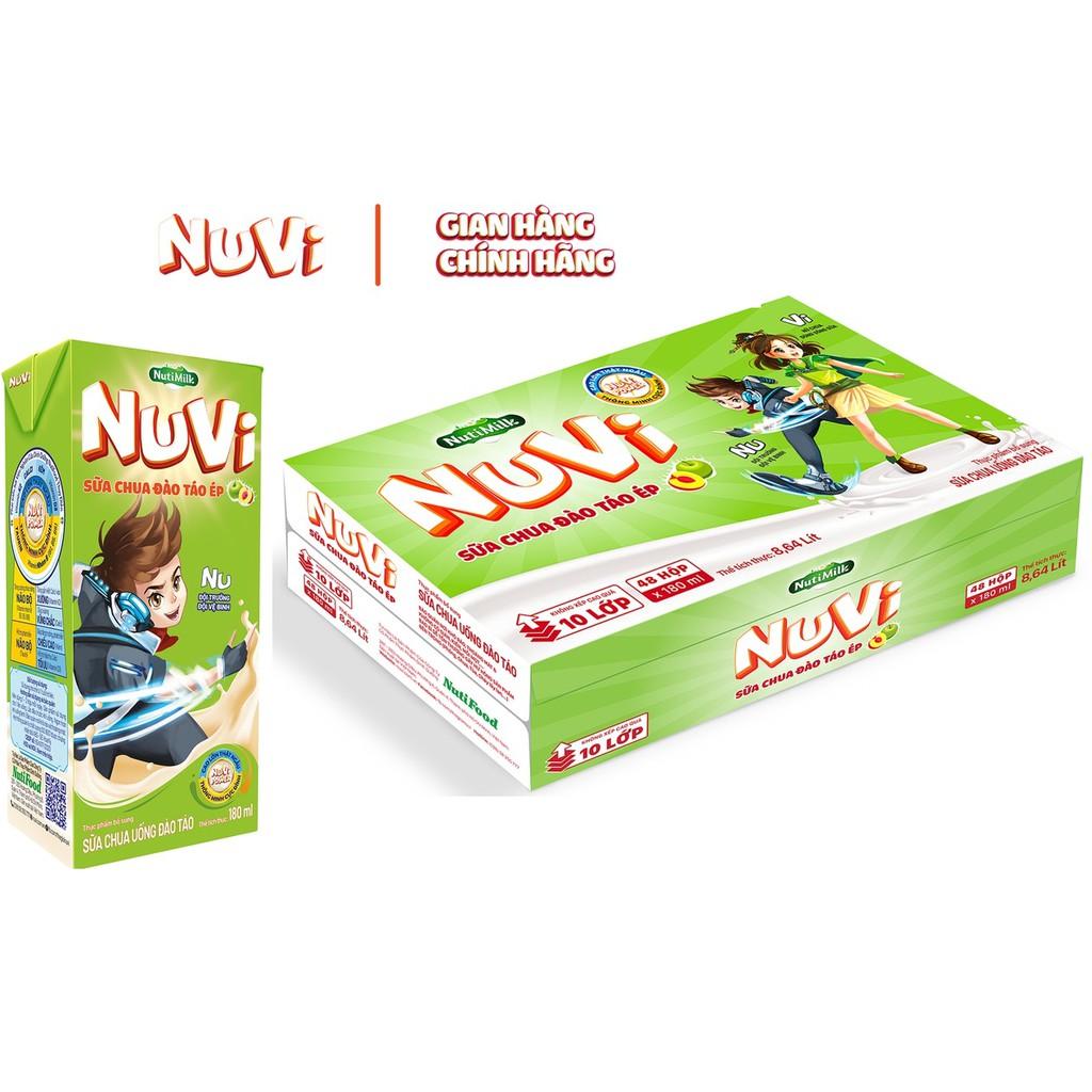 Thùng 48 hộp NuVi Sữa chua uống Đào táo hộp 180ml/hộp