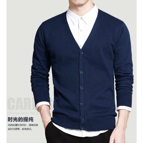 Aó cardigan nam phần mỏng Hàn Quốc Momaike nam mùa xuân và mùa thu đan,áo len nam áo len coat loose xu hướng