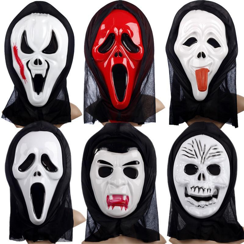 Mặt nạ ma quỷ hóa trang Halloween trắng máu kinh dị