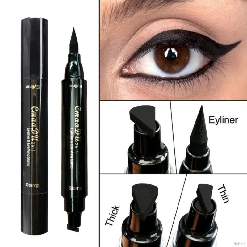 Bút kẻ mắt CmaaDu hai đầu dạng lỏng nhanh khô màu đen