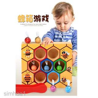 Kids Montessori Clip Small Bee Toy Music Wooden Intelligence Cognition Toy