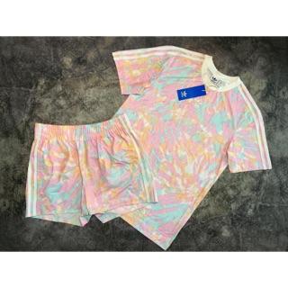 (Có QUÀ TẶNG) Set quần áo thể thao 3-Stripes Tee and Short Tye Dye