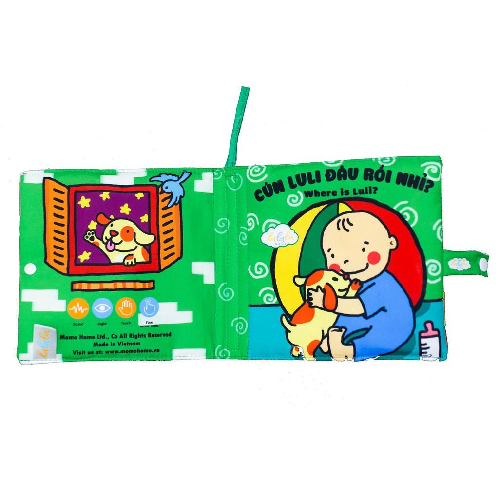 Sách vải Lalal baby kích thích đa giác quan cho bé Luli đâu rồi?- Where is Luli?, kích thước 18x18cm,...
