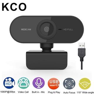 Webcam KCO PC01 có mic độ phân giải HD 2K góc quay rộng 110° thiết kế đế xoay 360 độ kết nối cổng USB tiện dụng