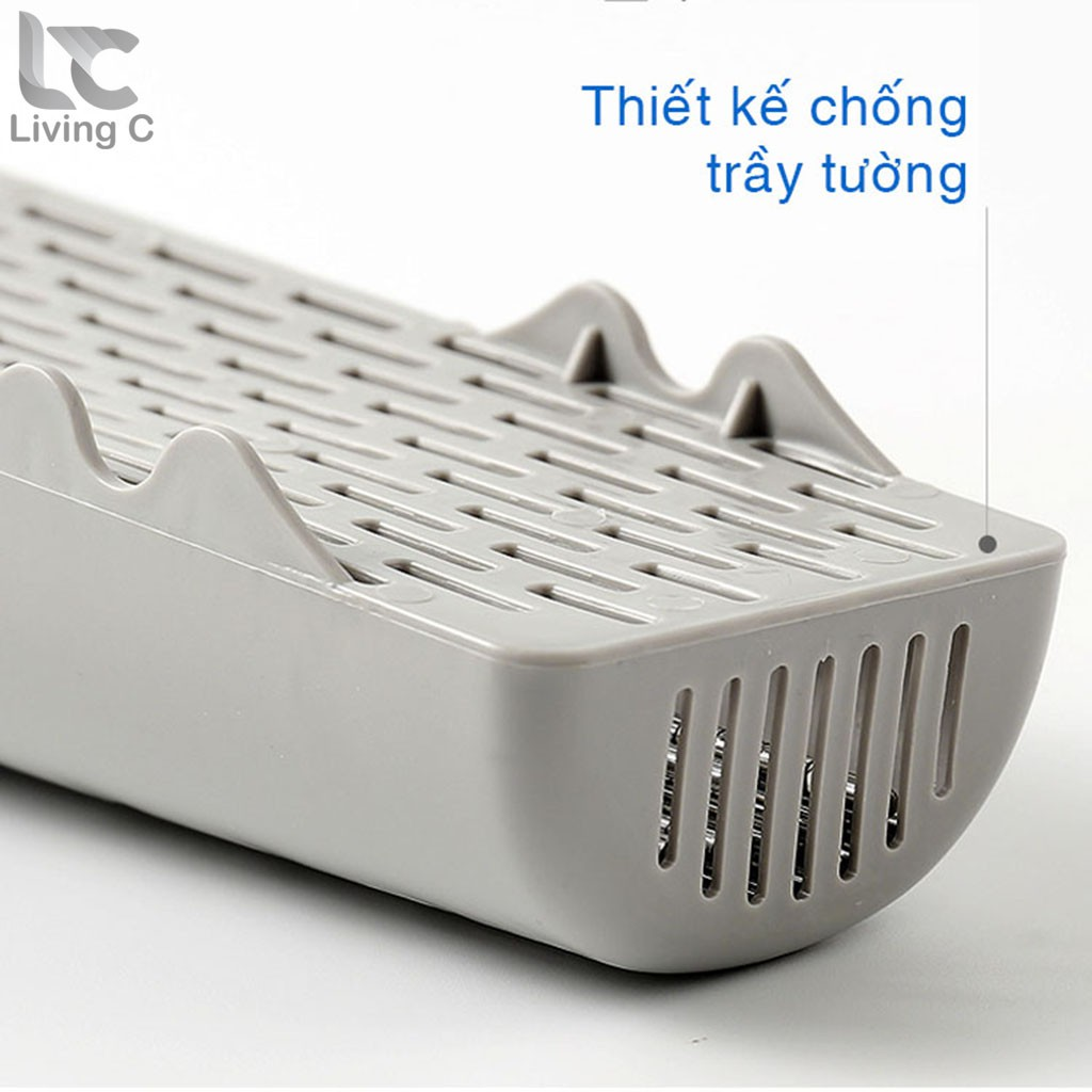 Ống đựng đũa dán tường có nắp Living C, 1 ống cắm đũa nhà bếp tiện lợi _D46