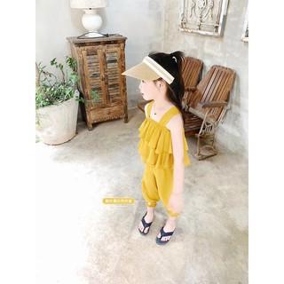 Đồ bộ bé gái áo tai bèo màu vàng vải lụa