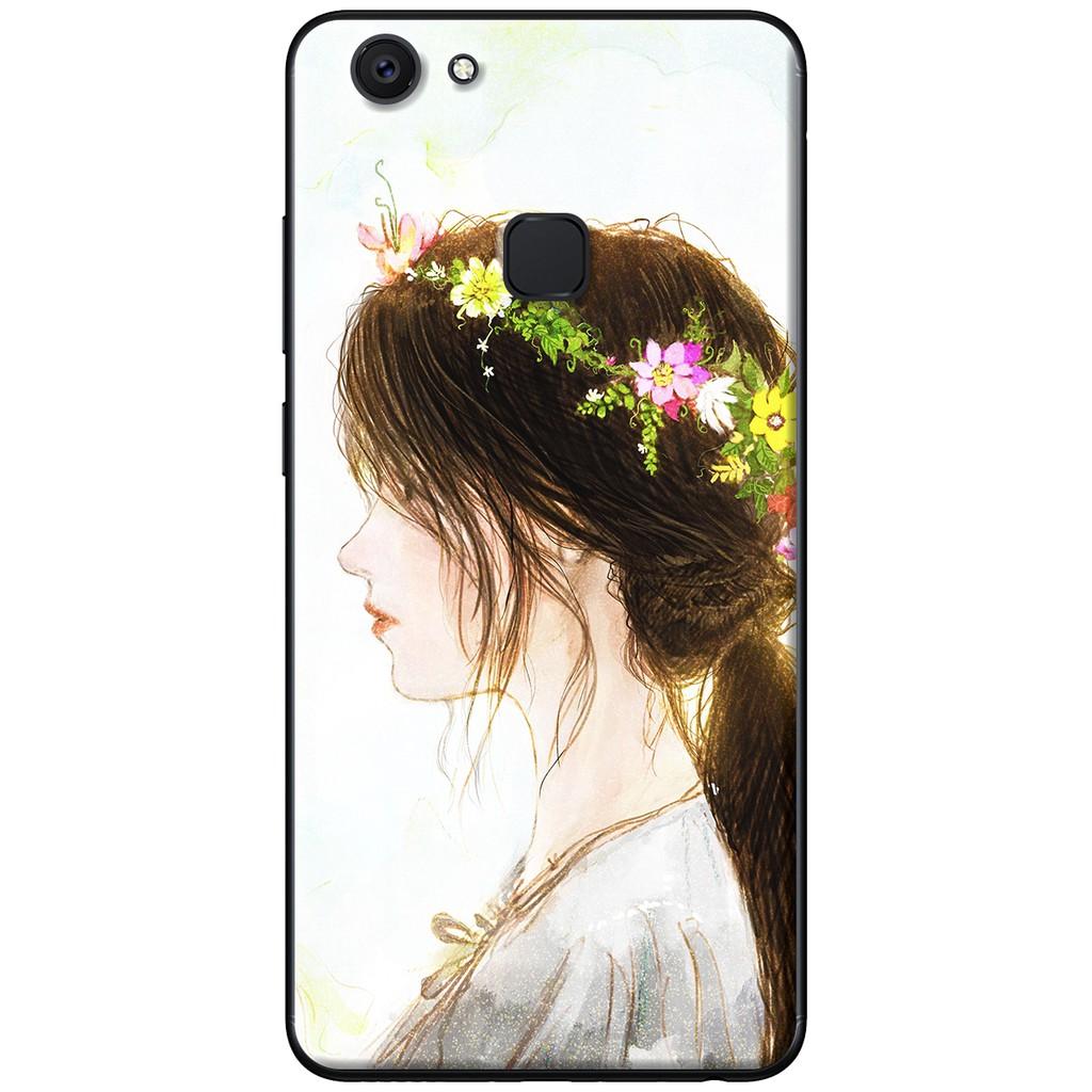 Ốp lưng Vivo V7, V7 Plus - nhựa dẻo Em cài hoa