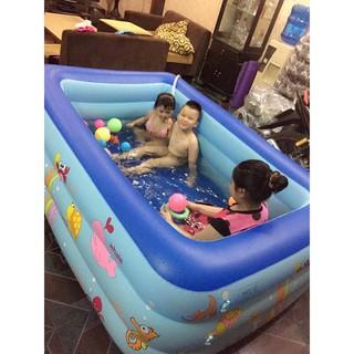 Combo bể phao 3 tầng 1m8 + phao bơi + bơm điện