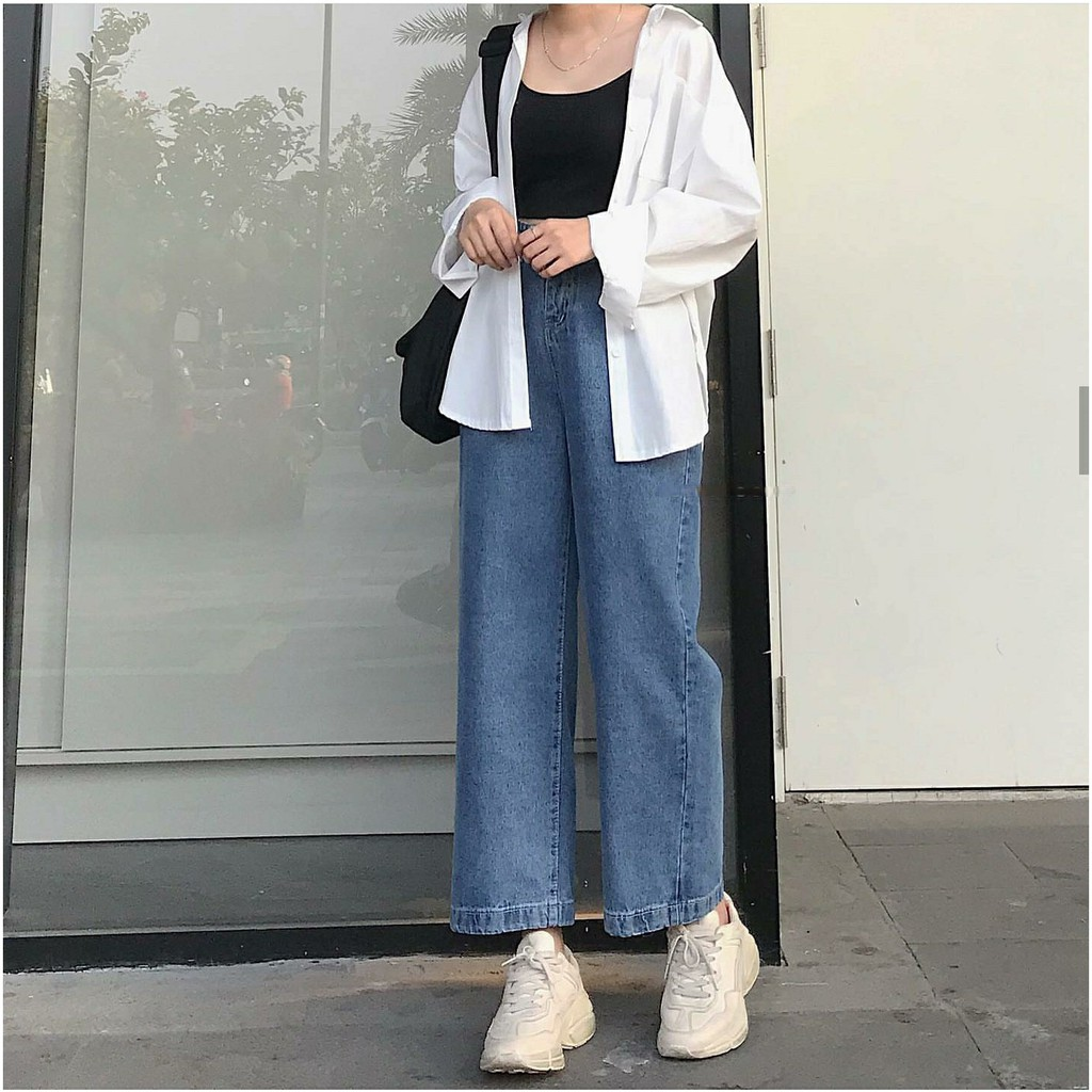 Quần Jeans Ống Rộng SIMPLE JEANS 02 Xanh Đậm Unisex