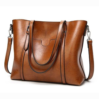 Women Bags for Women Large PU Leather Top Handle Messenger Brown