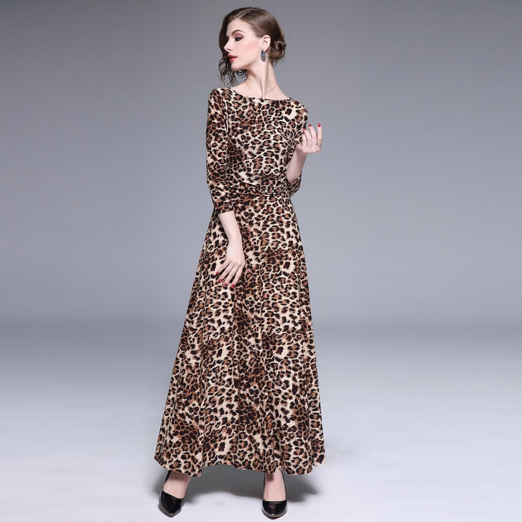 Women's spring fashion new style one-neck seven-point sleeves pleated waist leopard dress dress