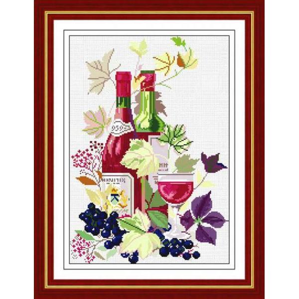 Ly Rượu Hoa Tranh thêu chữ thập chưa thêu RY1868