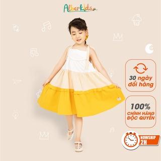 Váy cho bé gái ALBER KIDS 2 dây 3 màu Phối Vàng chất liệu Thô cara mềm mát và thấm hút mồ hôi tốt [V24]