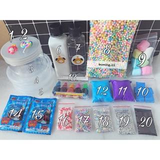 Bộ Kit 20 Món Làm Tất Cả Loại Slime + Tặng 1 Hương 1 Charm 1 Hủ Đựng