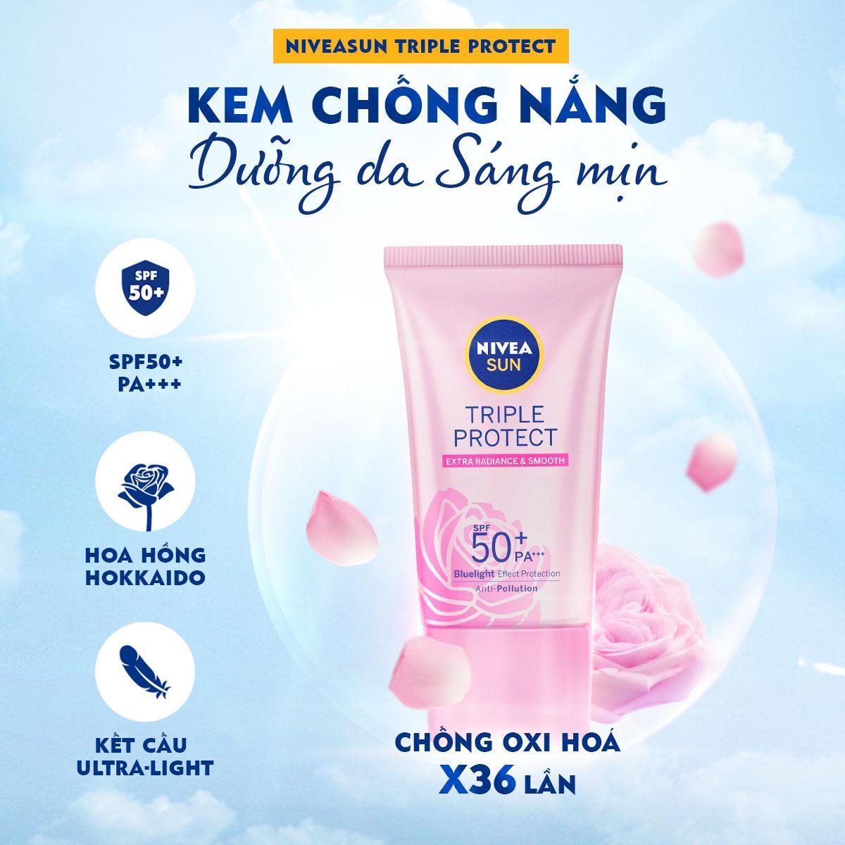 Độc Quyền] Kem Chống Nắng Dưỡng Da Sáng Mịn NIVEA SUN Triple Protect Extra  Radiance & Smooth SPF50+ PA+++ 40ml - 85536   Shopee Việt Nam