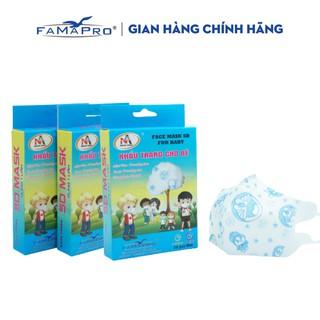 Combo 3 hộp khẩu trang y tế trẻ em 3 lớp kháng khuẩn Famapro 5D Baby hình (10 cái hộp) thumbnail