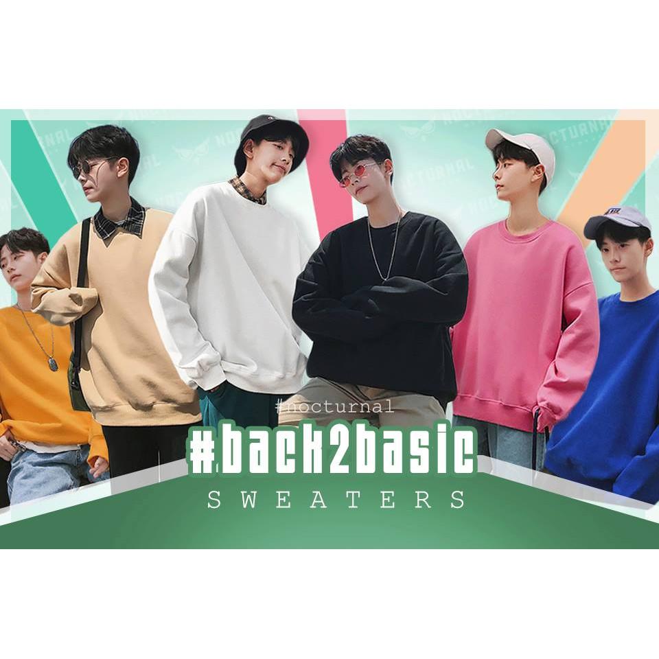 Áo Sweater Trơn BACK2BASIC Xẻ Tà Nocturnal (6 màu: Trắng, Đen, Hồng, Tan, Xanh Dương, Vàng)