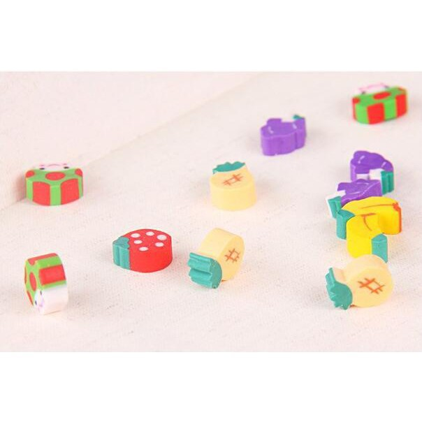 35PCS Creative Rubber Eraser Fruit Mini Pencil Eraser For Children Kids Toy Gift