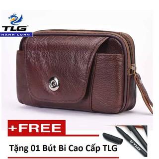 Túi đeo hông da thật đựng điện thoại cao cấp Thành Long TLG 208261 tặng 01 bút bi cao cấp TLG