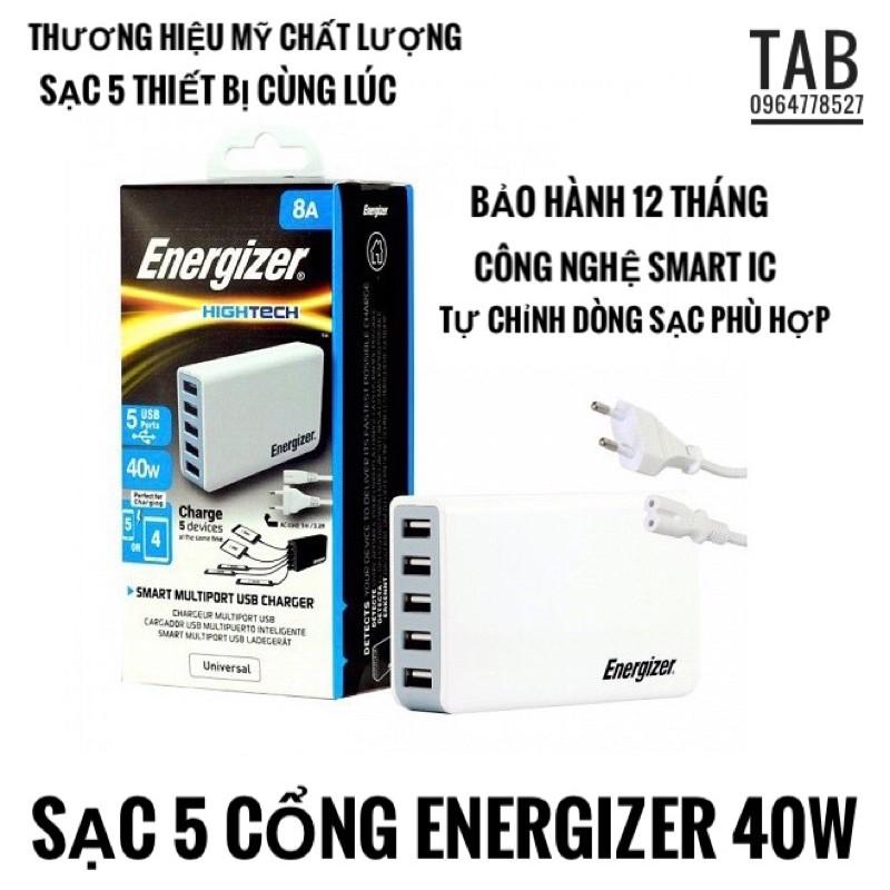 Sạc 5 Cổng Energizer 5V/8A (USA5DEUHWH5) 40W (Bảo Hành 12T)