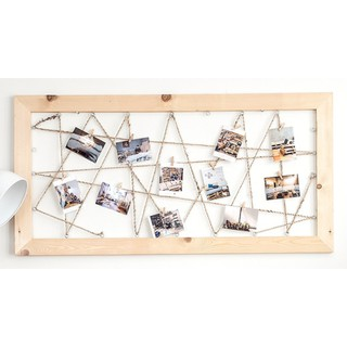 Khung ảnh treo tường dạng lưới bằng gỗ thông Rainbow/ Giá treo ảnh tặng kèm kẹp gỗ Decor trang trí nhà cửa H11
