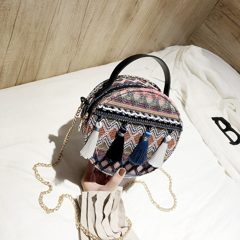 กระเป๋ากลมเล็กลมชาติหญิงพู่ฟางกระเป๋า messenger ความจุขนาดใหญ่ถุงห่วงโซ่อิน