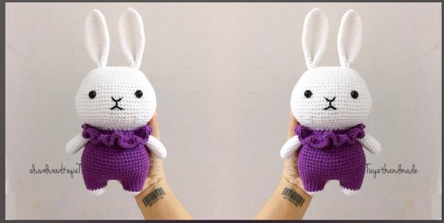 Thỏ móc len handmade - thỏ chân ngắn thú bông