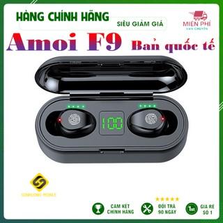 Tai Nghe Bluetooth True Wireless AMOI F9 V5.0 Cảm Ứng Vân Tay, Dock Sạc có Led Báo Pin Kép