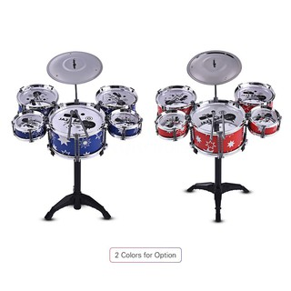 SQC Children Kids Jazz Drum Set Kit Musical Educational Instrument Toy 5 Drums + 1 Cymbal with Small Stool Drum Sticks f