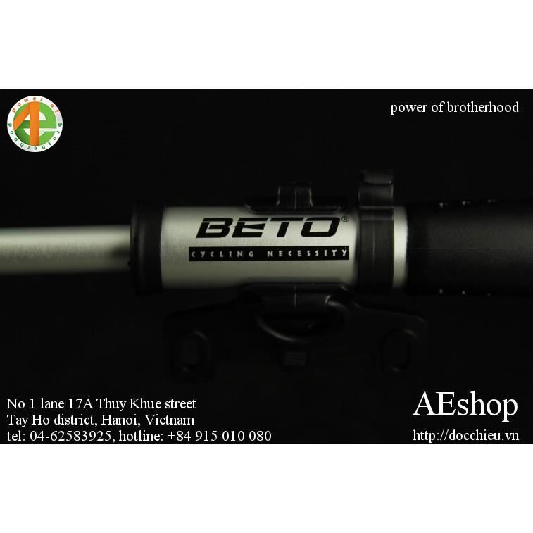 bơm gắn khung xe đạp thể thao mini có đồng hồ áp lực + vòi bơm Beto MP-036 nhập khẩu Taiwan
