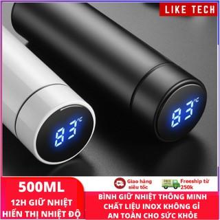 Bình giữ nhiệt có nhiệt kế thông minh 500ml - Bình giữ nhiệt INOX hiển thị nhiệt độ led cao cấp có Bảo Hành