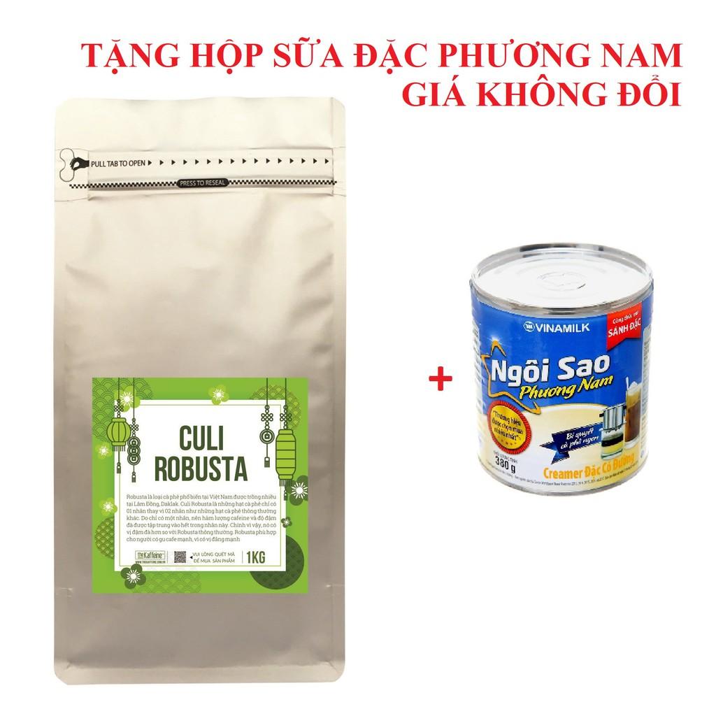 1KG Cà phê Culi Robusta Rang Xay Nguyên Chất - Tặng hộp sữa đặc PN - The Kaffeine Coffee