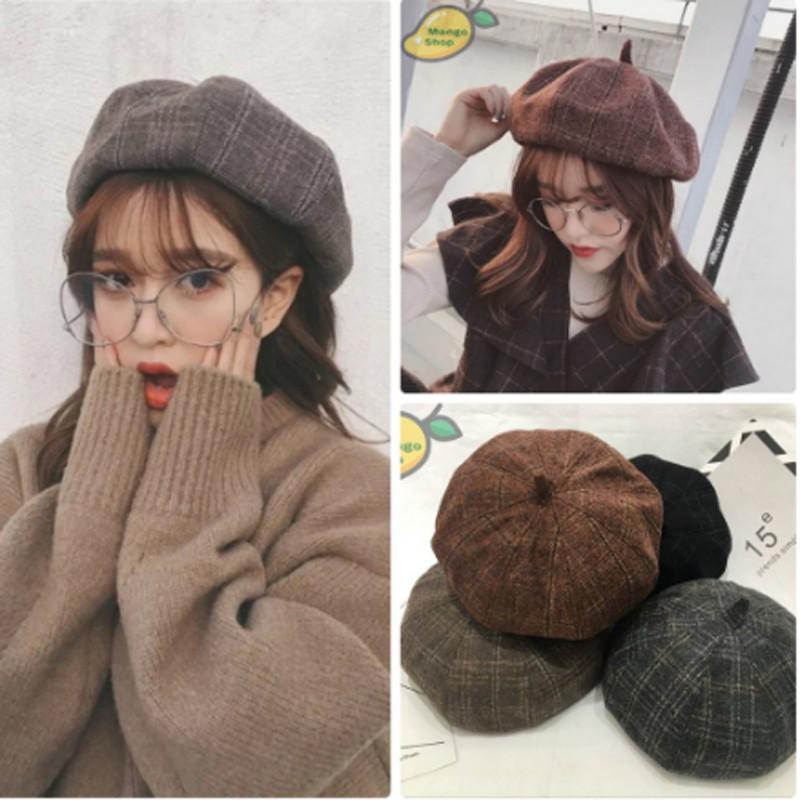 Mũ nồi Nữ beret caro có dây rút 4 màu