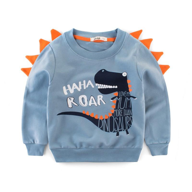 Áo khủng long bé trai 27KIDS áo nỉ da cá cho bé họa tiết đáng yêu chất cotton hàng xuất Âu Mỹ