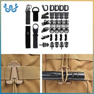 Kit of 34 Attachments for Molle Bag Backpack Vest Belt, D-Ring Clip, Web Dominator Elastic Strings, Strap Management Tool Buckle