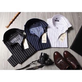 Áo sơ mi nam kẻ sọc trắng đen chất cotton dài tay tôn dáng tăng chiều cao AH2906 | Thời trang nam