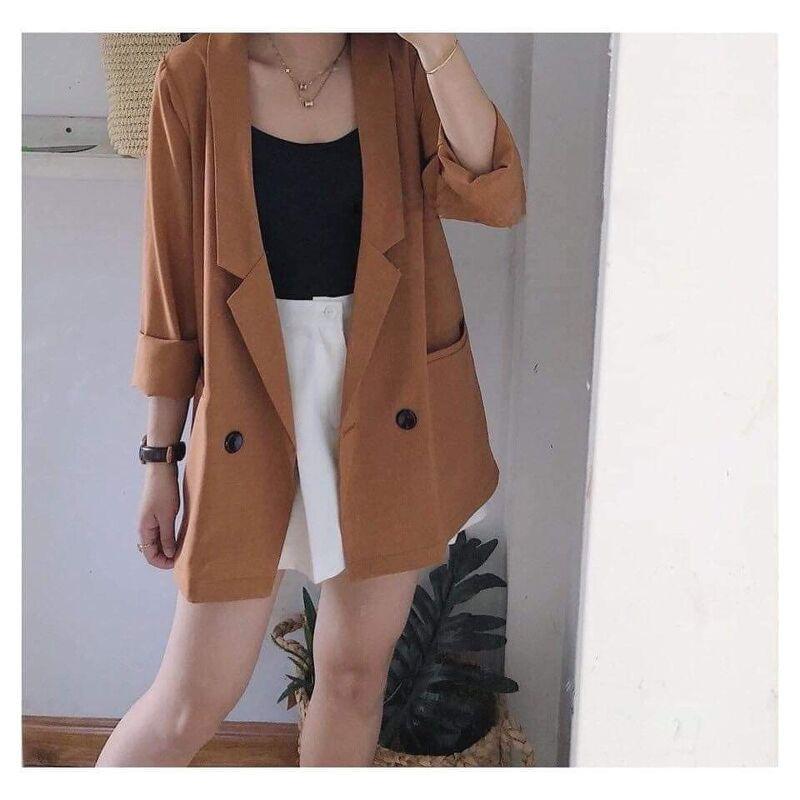 Áo vest basic dài tay blazer nữ phong cách cơ bản trẻ trung năng động