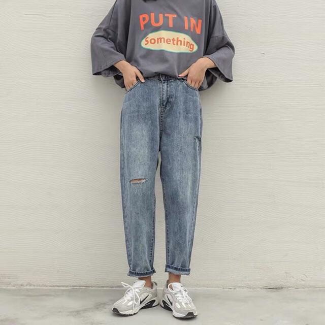 Quần slim baggy jeans rách sườn ver.2 cuốn lai kèm ảnh thật