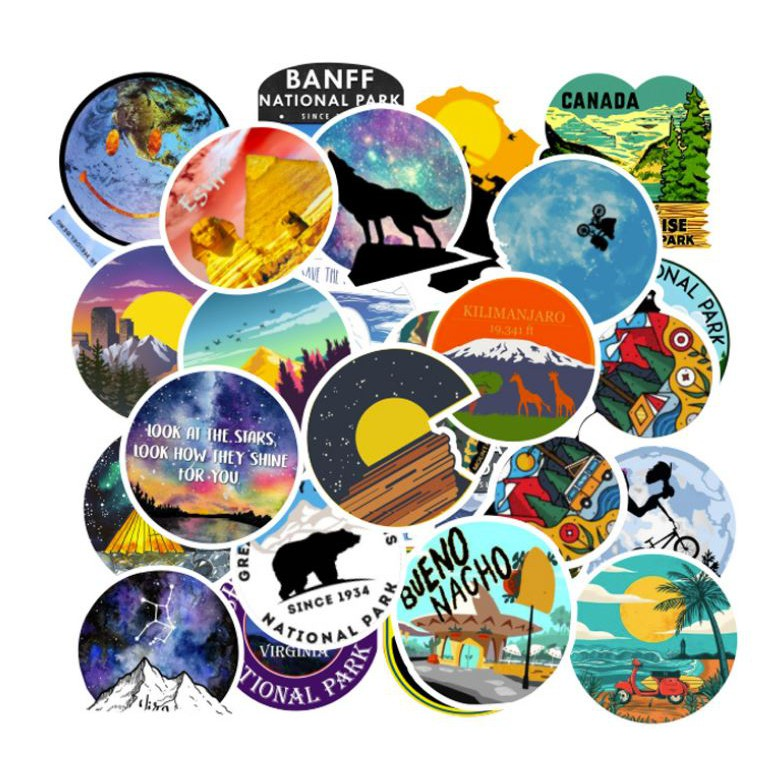 Sticker DU LỊCH nhựa PVC không thấm nước, dán nón bảo hiểm, laptop, điện thoại, Vali, xe, Cực COOL #56