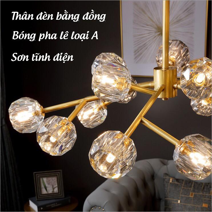 Đèn Thả Trần Trang Trí Pha Lê - Đèn Trần Phòng Khách, Phòng Ngủ, Phòng Ăn 3 Chế Độ Sáng - Bảo Hành 6 Tháng HB88