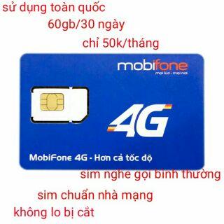 Sim 4G mobi 50k/tháng có 60gb.free dùng tháng đầu