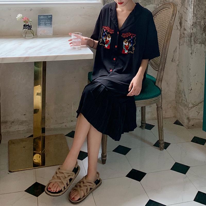 Đầm nữ Hàn Quốc tay dài cổ V