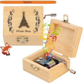 FAY Thanksgiving Day Wooden Hand Crank Valentine s Day Antique Engraved Music Box Mother s Day Classical Birthday Memorial Gifts Musical Boxes thumbnail