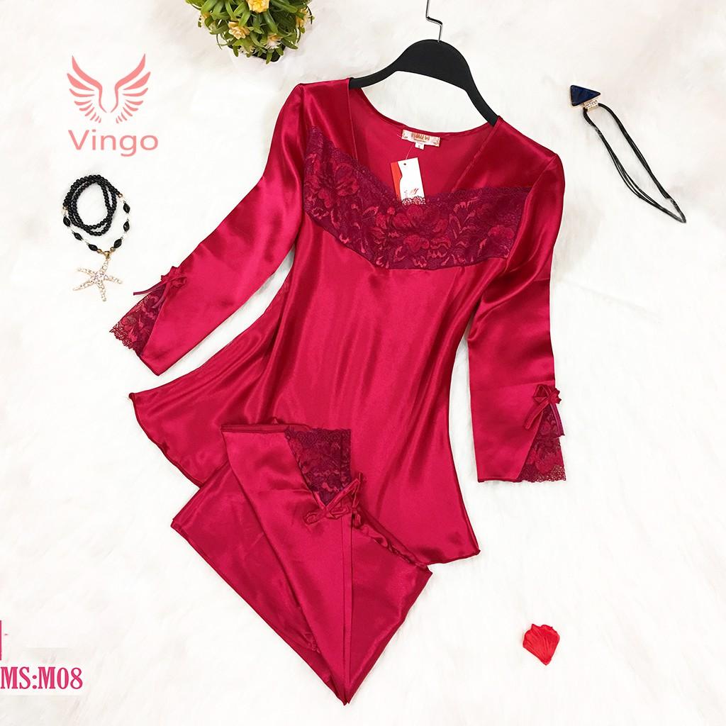 Bộ đồ ngủ lụa tơ tằm cao cấp màu đỏ đam mê thương hiệu Vingo