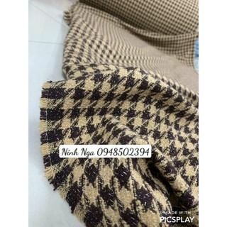 Vải dạ tweed kẻ răng sói nâu
