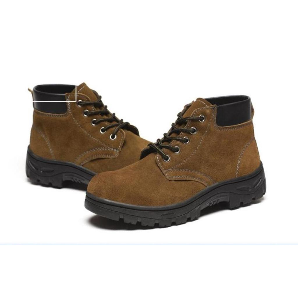 Fashion wild รองเท้าเซฟตี้หนังแท้ สำหรับสุภาพบุรุษ หัวเหล็กแข็ง พื้นแข็ง ใส่สบายนุ่มเท้า ป้องกันการตกกระแทก อายุการใช้งา