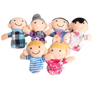 [mocean♕] 6Pcs Family Finger Puppets Cloth Doll Baby Educational Hand Toy S Kid