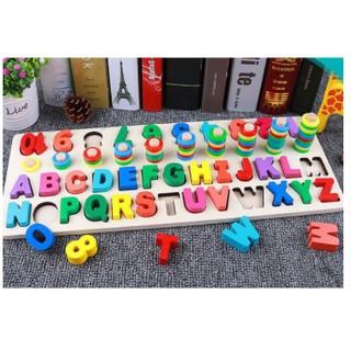 Com bo 5 bộ Đồ chơi giáo dục-Bộ học đếm số và chữ bằng gỗ