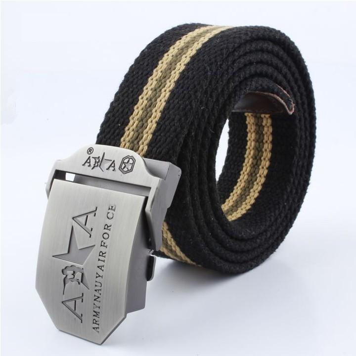 Thắt lưng vải bố khóa bằng kim loại FA2S552 (Đen Sọc Nâu)